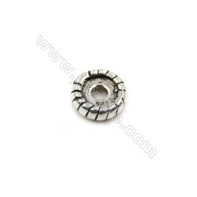 Thai Sterling Silver Spacer Beads  Round  Diameter 7mm  Hole 2mm  30pcs/pack
