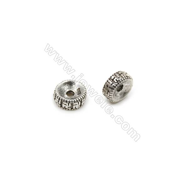 Thai Sterling Silver Spacer Beads  Round  Diameter 8mm  Hole 1.5mm  20pcs/pack