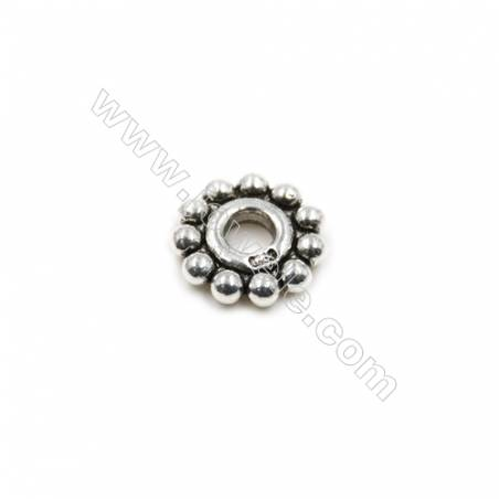 Thai Sterling Silver Spacer Beads  Round  Diameter 11mm  Hole 3mm  14pcs/pack