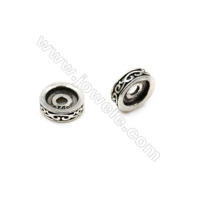 Thai Sterling Silver Spacer Beads  Ring  Diameter 12mm  Hole 2.5mm  10pcs/pack