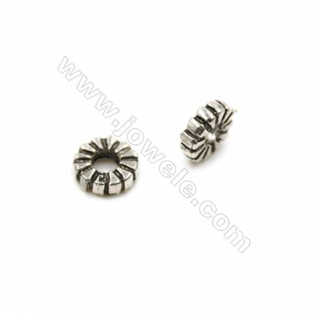 Thai Sterling Silver Spacer Beads  Round  Diameter 6mm  Hole 2mm  60pcs/pack