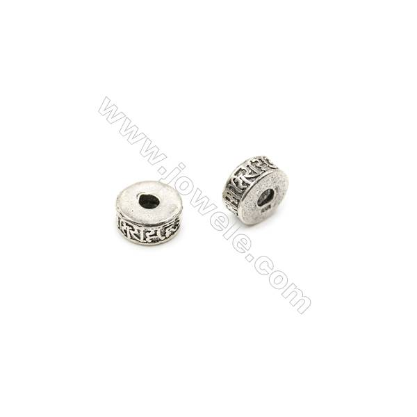 Thai Sterling Silver Spacer Beads  Cylinder  Size 5x10mm  Hole 2.5mm  6pcs/pack