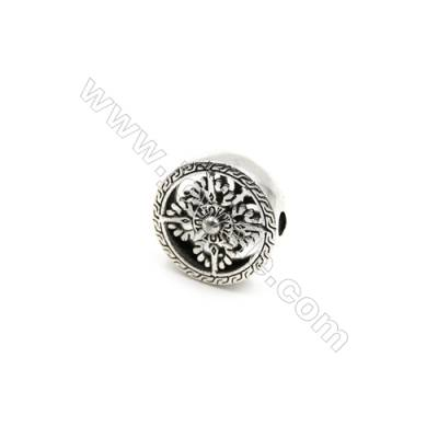 Thai Sterling Silver Charms  Hollow round  Diameter 17mm  Hole 2.5mm  Thick 5mm  5pcs/pack