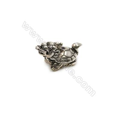 Thai Sterling Silver Charms  Tortoise  Diameter 21x10mm  Hole 1.5mm  6pcs/pack