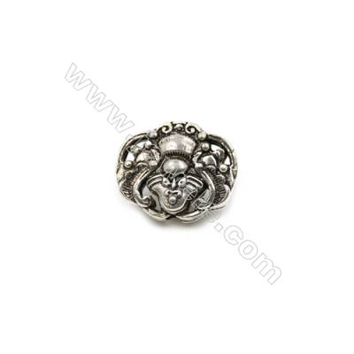 Thai Sterling Silver Charms  Size 14x13mm  Hole 2mm  Thick 8mm  4pcs/pack