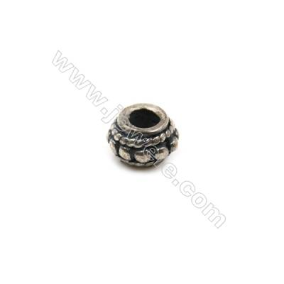 Thai Sterling Silver Beads  Column  Size 4x6mm  Hole 2.5mm  30pcs/pack