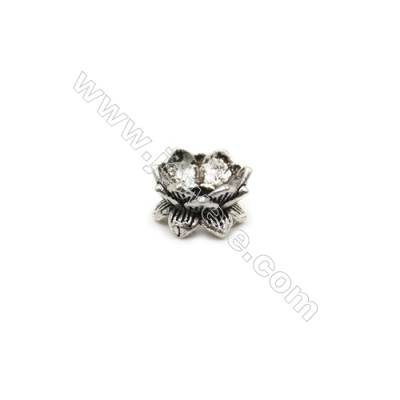 Thai Sterling Silver Charms  Lotus  Size 9x5mm  Hole 2mm  20pcs/pack