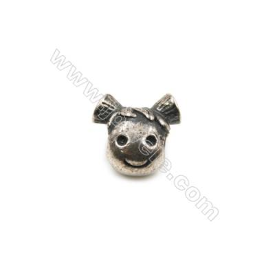 Thai Sterling Silver Charms  Lovely girl  Size 11x12mm  Hole 4mm  7pcs/pack