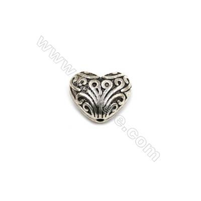 Thai Sterling Silver Beads  Heart  Size 10x12mm  Hole 1mm  10pcs/pack