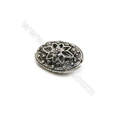 Thai Sterling Silver Beads  Oval  Size 14x19mm  Hole 1mm  6pcs/pack