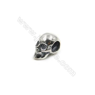 Thai Sterling Silver Charms  Skull  Size 11x7mm  Hole 4.5mm  12pcs/pack