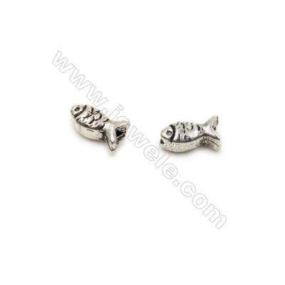 Thai Sterling Silver Beads  Fish  Size 4x7mm  Hole 1mm  60pcs/pack