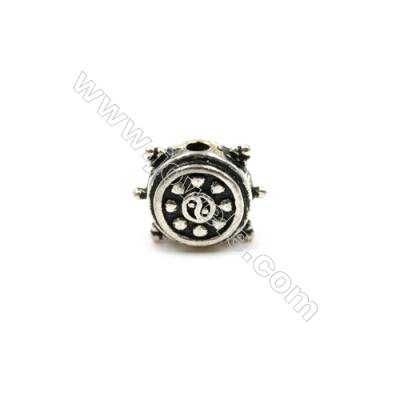 Thai Sterling Silver Charms  Rattle-drum  Size 11x14mm  Hole 2mm  Thick 6mm  6pcs/pack
