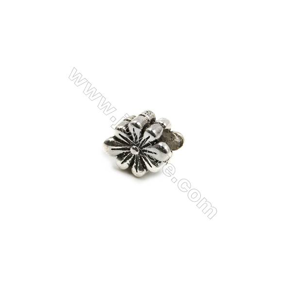 Thai Sterling Silver Charms  Flower  Size 11x9mm  Hole 4.5mm  Thick 7mm  8pcs/pack