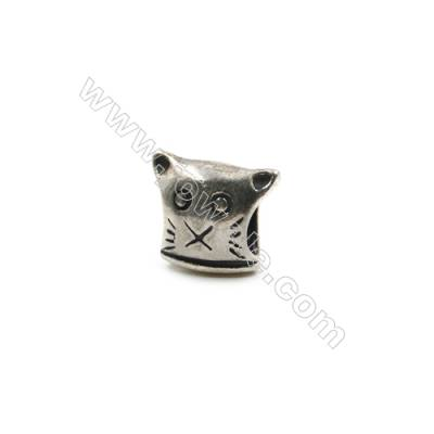 Thai Sterling Silver Charms  Kitten  Size 9x11mm  Hole 4.5mm  12pcs/pack