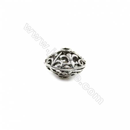 Thai Sterling Silver Beads  Gyro  Size 9x13mm  Hole 1.5mm  10pcs/pack