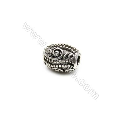 Thai Sterling Silver Beads  Column  Size 6x8mm  Hole 2mm  10pcs/pack