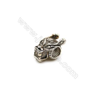 Thai Sterling Silver Charms  Dragon  Size 7x11mm  Hole 4mm  Thick 6mm  12pcs/pack