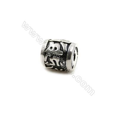 Thai Sterling Silver Charms  Column  Size 10x9mm  Hole 2mm  8pcs/pack