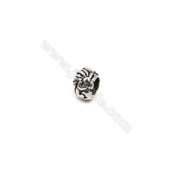 Thai Sterling Silver Beads  cylinder  Size 3x5mm  Hole 3mm  50pcs/pack