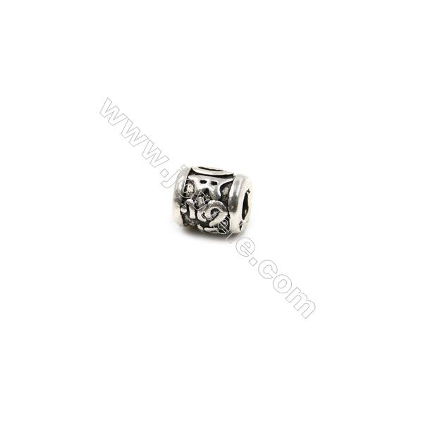 Thai Sterling Silver Beads  Cylinder  Size 5x6mm  Hole 2mm  20pcs/pack