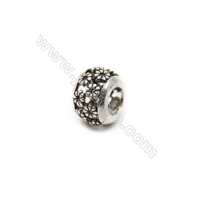 Thai Sterling Silver Flower Pattern Charms  Hollow Bead  Size 10x7mm  Hole 4.5mm  12pcs/pack