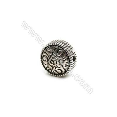 Thai Sterling Silver Beads  Round  Diameter 12mm  Hole 1.5mm  6pcs/pack