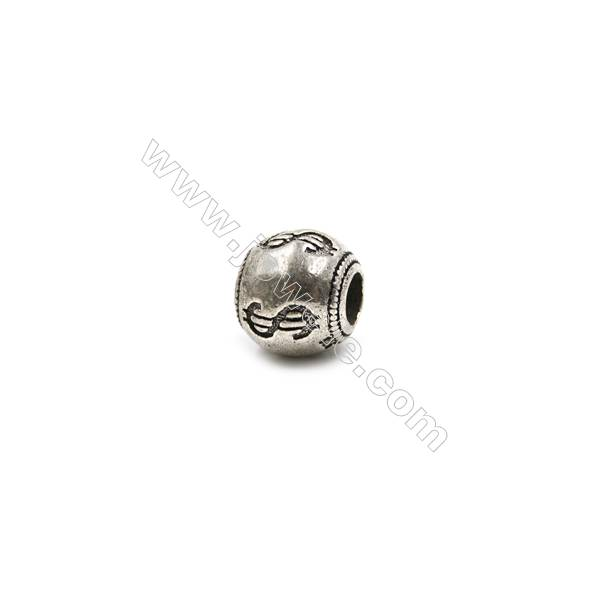 Thai Sterling Silver Charms  Round  Size 9x9mm  Hole 3.5mm  5pcs/pack