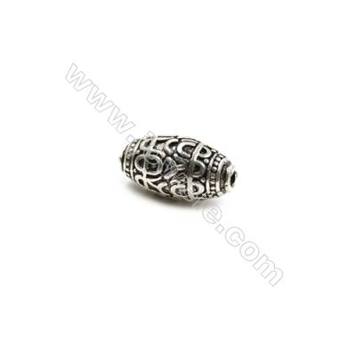 Thai Sterling Silver Beads  Oval  Size 7x13mm  Hole 1.5mm  12pcs/pack