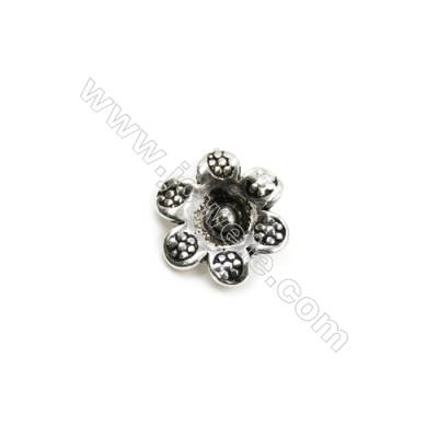 Thai Sterling Silver Pendants  Flower  Size 12x11mm  Hole 1.5mm  15pcs/pack