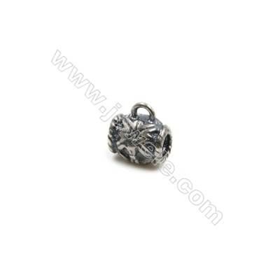 Thai Sterling Silver Flower Pattern Pendants  Tube  Size 6x5mm  Hole 0.8mm  30pcs/pack