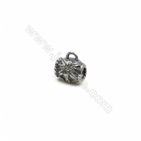 Thai Sterling Silver Flower Pattern Pendants  Tube  Size 6x5mm  Hole 0.8mm  30pcs/pack