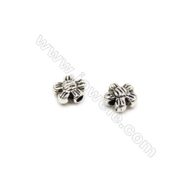 Thai Sterling Silver Beads  Flower  Size 5x6mm  Hole 1mm  40pcs/pack
