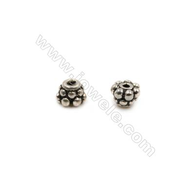 Thai Sterling Silver Beads  Semicircle, Size 3x4mm, Hole 1mm, 50pcs/pack