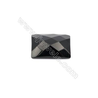 Natural Back Black Agate Gemstone Cabochons Faceted Rectangle-YT1318  Size 13x18mm  10pcs/pack