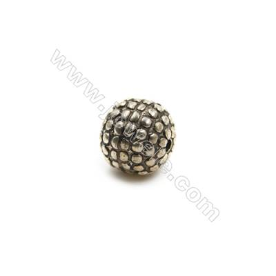 Thai Sterling Silver Beads  Ball  Diameter 10mm  Hole 1.5mm  8pcs/pack