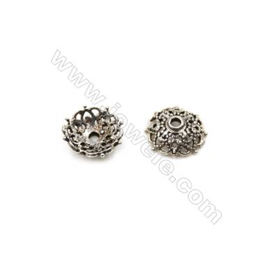 Vintage Jewelry Findings Thai Sterling Silver Bead Caps  Flower  Size 10x4mm  Hole 1.5mm  40pcs/pack
