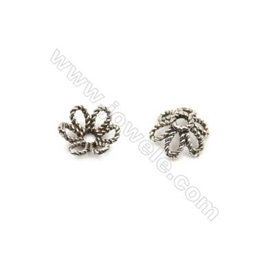 Thai Sterling Silver Bead Caps  Flower  Size 8x3mm  Hole 1.5mm  90pcs/pack