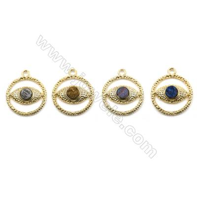 Brass Plated Gold Pendants  Inlaied Dyed Druzy Agate  Round  Diameter 31mm  5pcs/pack