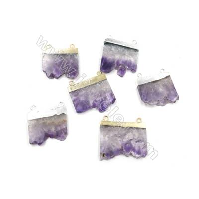 Natural Druzy Amethyst with Brass Connectors, (Golden, Platinum)Plated, Size 33~40 x 29~38 x 4~6mm, Hole 2.5mm, 4pcs/pack