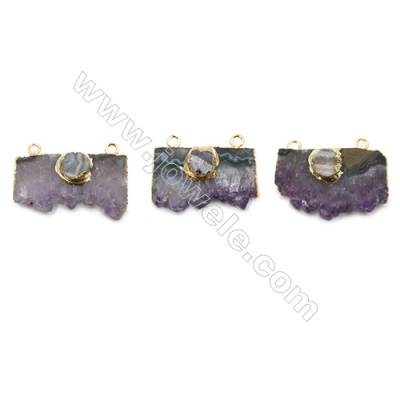 Natural Druzy Amethyst with Brass Connectors, and Round Druzy Agate, (Golden)Plated, Size 36~40 x 20~25mm, Hole 2.5mm, 4pcs/pack