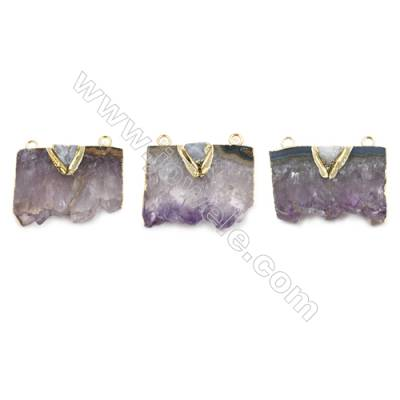 Natural Druzy Amethyst with Brass Connectors, (Golden)Plated, Size 36~40 x 30~25mm, Hole 2.5mm, 4pcs/pack