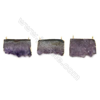 Natural Druzy Amethyst with Brass Connectors, (Golden)Plated, Size 39~41 x 23~27mm, Hole 2.5mm, 4pcs/pack