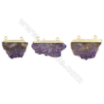 Natural Druzy Amethyst with Brass Connectors, (Golden)Plated, Size 22~30 x 46~38mm, Hole 2.5mm, 4pcs/pack