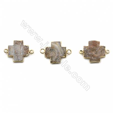 Electroplated Natural Druzy Agate Cross Connectors, with Golden Plated Brass, Size 21x21mm, Hole 2mm, 6pcs/pack