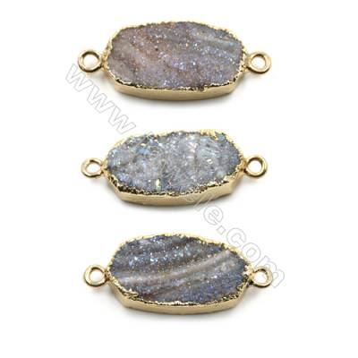 Electroplated Natural Druzy Agate Oval Connectors, with Golden Plated Brass, Size 12x22mm, Hole 2mm, 6pcs/pack
