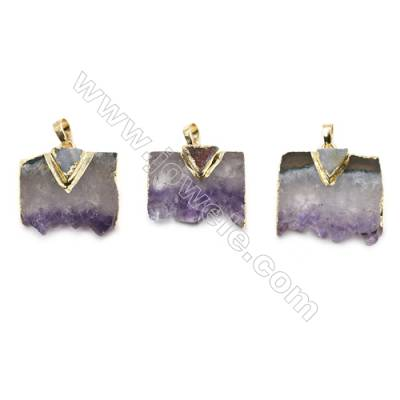 Natural Druzy Amethyst with Brass Pendants, and Triangle Druzy Agate, (Golden)Plated, Size 28~32 x 23~28mm, 5pcs/pack
