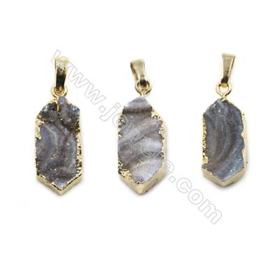 Electroplated Natural Druzy Agate Pendants, with Golden Plated Brass, Size 11x21mm, 6pcs/pack