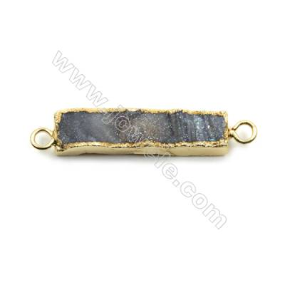Electroplated Natural Druzy Agate Rectangle Connectors, with Golden Plated Brass, Size 8x35mm, Hole 2mm, 6pcs/pack