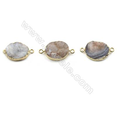 Electroplated Natural Druzy Agate Oval Connectors, with Golden Plated Brass, Size 15x20mm, Hole 2mm, 6pcs/pack